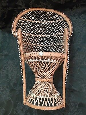 Wicker Doll Chair Peacock Fan 16 in high Philippines Vintage