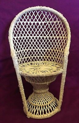 White Wicker Doll Chair Peacock Fan 15.5 in high  Vintage