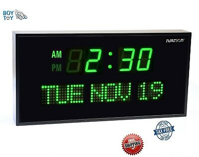 Big Oversized Digital LED Calendar Clock with Day and Date Green 3 Levels Bright