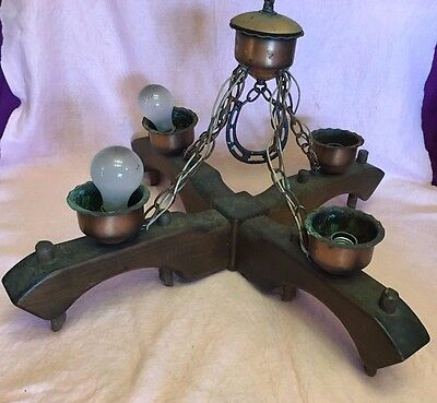 Ceiling Wooden Wood Light Metal Lamp Rustic Farmhouse 4 Lamps Vintage 26x26 in