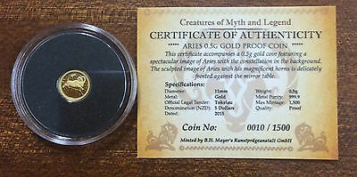 2015 Tokelau .5 gram 999.9 gold coin - creatures of myth and legend - Aries