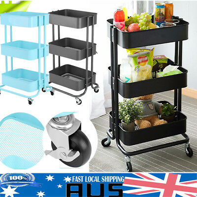 3-Tier  Kitchen Trolley Cart Portable Rolling Wheels Storage Shelft Storage Rack