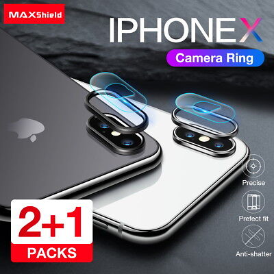 2X MAXSHIELD iPhone X Camera Lens Tempered Glass Protector With Ring Metal Cover