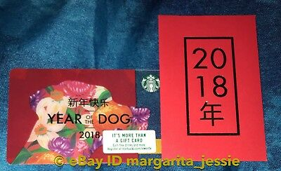 Starbucks Chinese New Year Gift Card+Envelope Year Of The Dog 2018 No Value Rare