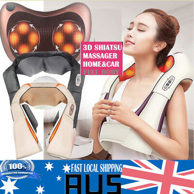 Shiatsu Vibration Massage Infrared Heating Cushion Massager Neck Shoulder AU