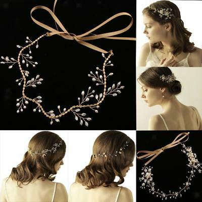 Women Retro Crystal Pearl Bridal Headband Wedding Party Hair Vine Band Headpiece