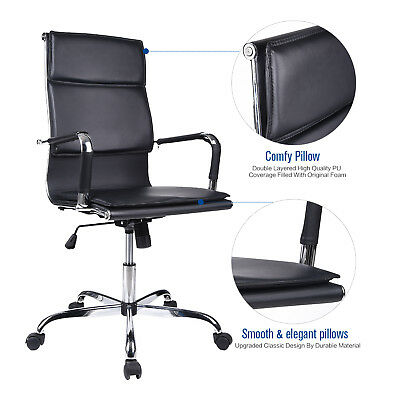 PU Leather Office Executive Chair High Back Swivel Adjustable Computer Seat US