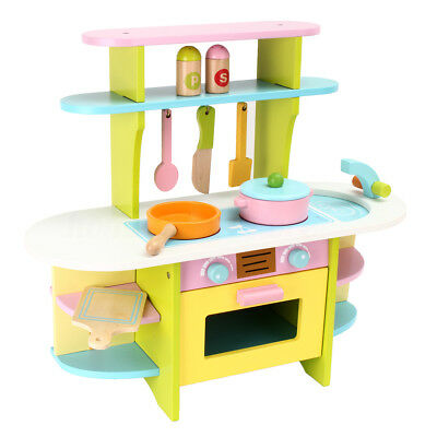 Kids Wooden Kitchen Set Cooking Pretend Role Play Cooker Children Baby Toy Gift