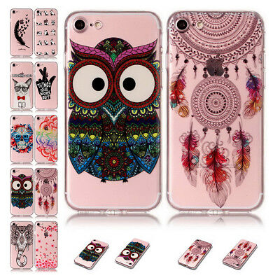 Slim Shockproof Pattern Clear Soft TPU Rubber Back Cover For iPhone X 8 7 6 Plus