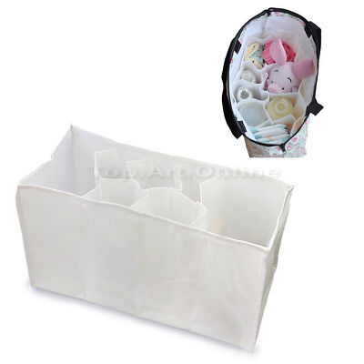 Mother Bag Baby Diaper Nappy Milk Bottle Travel Insert Storage Bag Pouch White