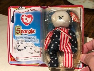 "Rare TY Beanie Babies ""Spangle The Bear"" 1999 New In Original Package Flat Tag!"