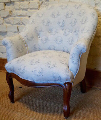 An Antique French Louis Philippe Tub Chair in PEONY and SAGE 'Songbird'