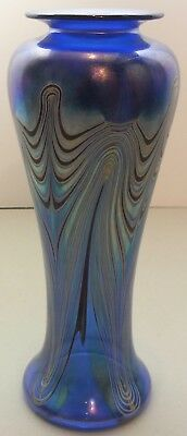 Cobalt Blue Art Glass Vase W/ Colorful Pulled Feather Design Signed Marc Boutte