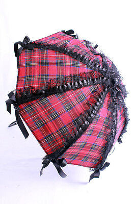 Parasol red scottish and lacing black lace Phaze - Golden Steampunk