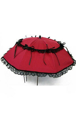 Parasol red with knots and lace black elegant gothic Phaze - Golden St