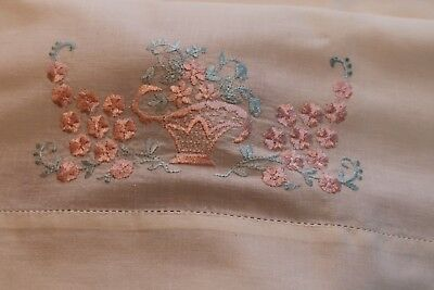 Vintage Cotton Pillowcases White w Pink Glimmering Baskets & Blue 19x32
