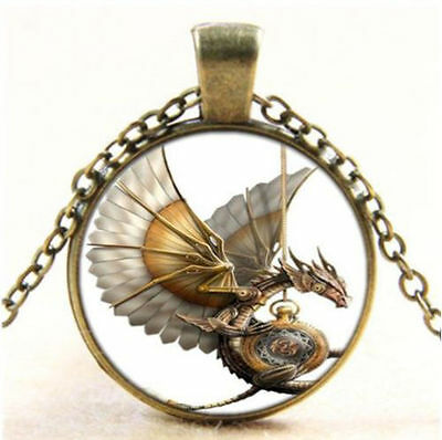 GOLD DRAGON Glass Bubble Dome Pendant / Necklace - FREE Chain (your choice)