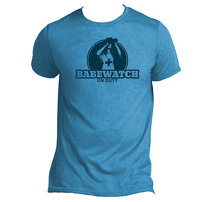 Babewatch on Duty Mens Funny T-Shirt Lifeguard Holiday Beach Wear Humour