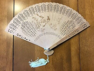 antique Chinese hand crafted fan with original glass covered case