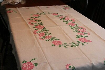 Vintage Linen Tablecloth Hand Embroidered Pink Roses 48x64