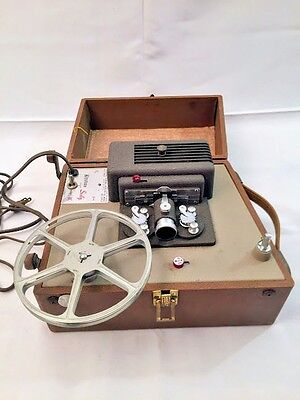 Vintage Keystone Sixty 8mm Projector w/ Carrying Case Works Case & Pickup Reel