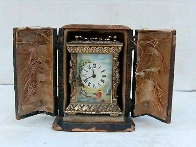 Antique Miniature Caryatid Cased Carriage Clock in Original Case RARE!!!!!