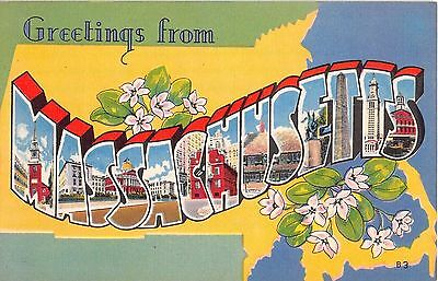 Large Letter postcard Greetings from Massachusetts MA pc