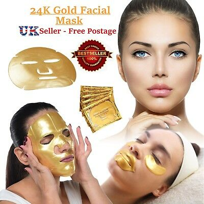 20x Gold Bio Collagen Crystal Mask Face Facial Anti Ageing Wrinkle Masks FREE PP