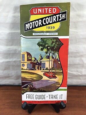 Vintage 1939 United Motor Courts Inc. Travel Collectible Advertising Guide
