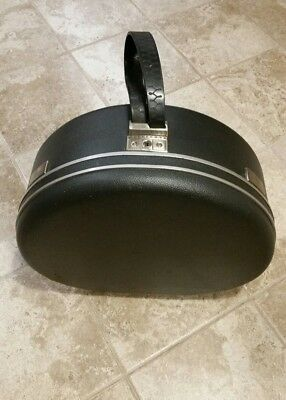 "Vintage Samsonite Shwayder Round Hat Box 18"" Diameter Suitcase- Dark Blue"