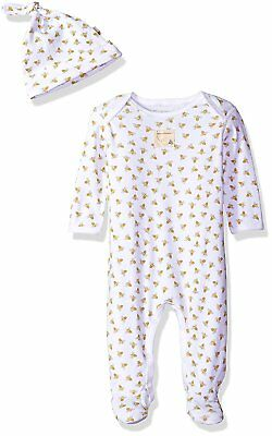 Burts Bees Baby - Bee Essentials Footed Coverall + Knot Top Hat Set, 100%  Cloud