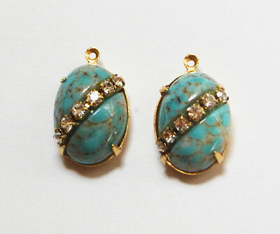 VINTAGE ANTIQUE GLASS OVAL PENDANT BEADS RHINESTONE TURQUOISE MATRIX • 18x13mm