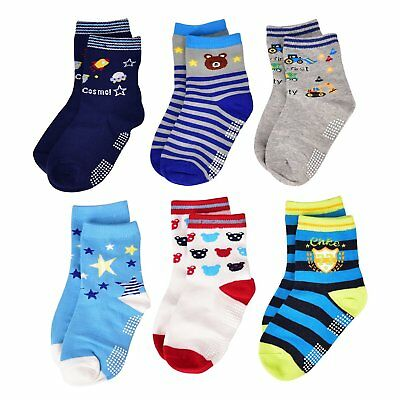 LAISOR Non-Skid Ankle Cotton Socks with Grip For Kids Toddlers Baby Boys 6 Set
