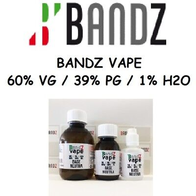 Bandz VAPE Base neutra Pack 100 ml 60/40 con 1 % di H2o