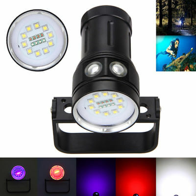 Diving Photography 20000LM 10x XM-L2+4xRed+4xBlue LED Tauche Tauchlampe bis 100m