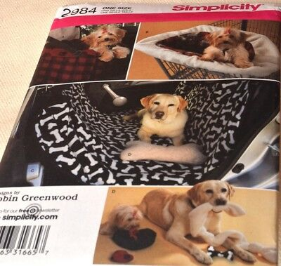 UNCUT Simplicity Travel Accessories for Dog Sewing Pattern 2984