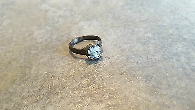 Ancient Roman Bronze RING (#23) Intact Blue Glass Stone, 17 mm, Wearable