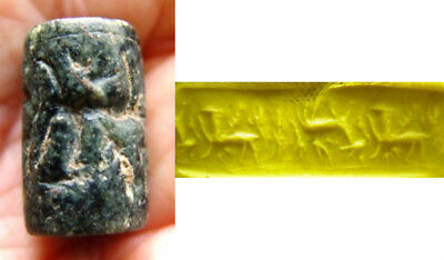 Old near eastern black stone cylinder seal-Very nice