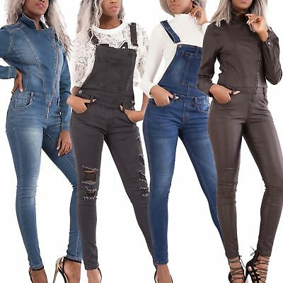 WOMEN'S SEXY DENIM JUMPSUIT Overall Skinny Legs Dungaree Faded Jeans SIZE 6-14