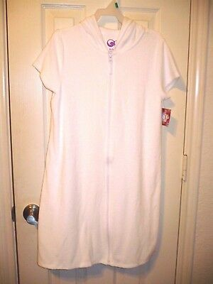 OP Swim Cover Up Girls Size X-Large 14/16 White Terry Cloth Full Zip W Hoodie