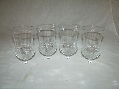 (4) Clear Diamond Point Glass Home Interior Votive Cup Candleholders   5.25""