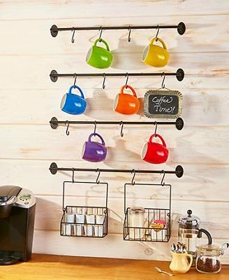 Wall Mount Metal Coffee Cup Hanging Rack Country Rustic Kitchen Home Decor