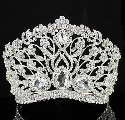 Large Floral Clear Austrian Rhinestone Crystal Tiara Crown With Comb Bridal T901