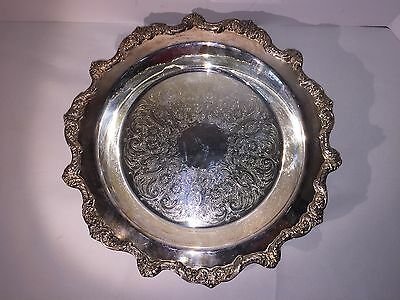 Old English by Pool #5938 Silver Plated Round Footed Serving Tray Embossed 131/2