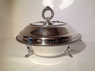 Sheffield Silverplate Footed Covered Serving Bowl Dish with Removable Handle EPC