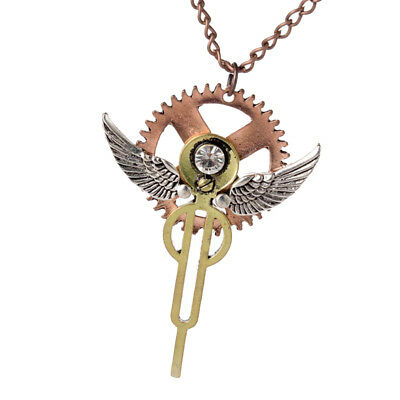 Antique Silver Angel Wings Gear Steampunk Necklace Vintage Gothic Jewelry