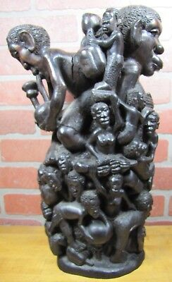 Old African Folk Art Wooden Carved Tree of Life Figural Decorative Art Statue