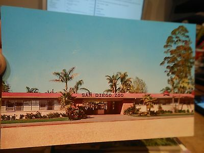 Vintage Old CALIFORNIA Postcard San Diego Zoo Entrance Ticket Gate Trash Can ZOO