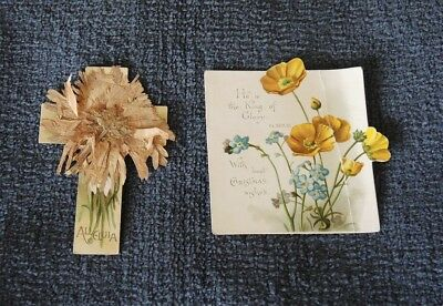 Antique Mothering Sunday Card With Pressed Flower Dated 1887 + Another #2
