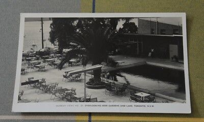 REAL PHOTO OVERLOOKING BEER GARDENS & LAKE TORONTO NSW MURRAY VIEWS 21 1950s? #